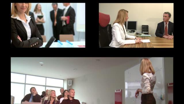 vídeos y material grabado en eventos de stock de hd montaje: exitosa mujer de negocios - pantalla dividida