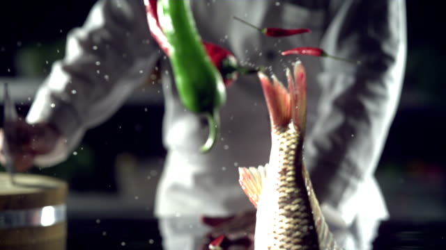 Successful chef,cooking,Flying fish,slow motion