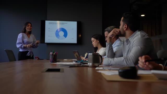 stockvideo's en b-roll-footage met succesvolle, zelfverzekerde volwassen vrouw die haar team aanpakt tijdens een presentatie op het kantoor van de boardroom - diavoorstelling
