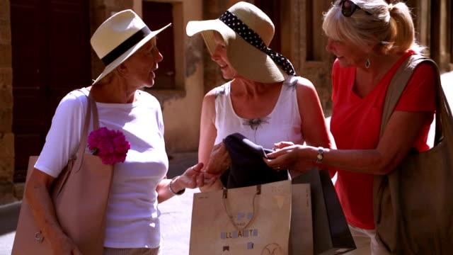 shopping viaggio di successo - donne anziane video stock e b–roll