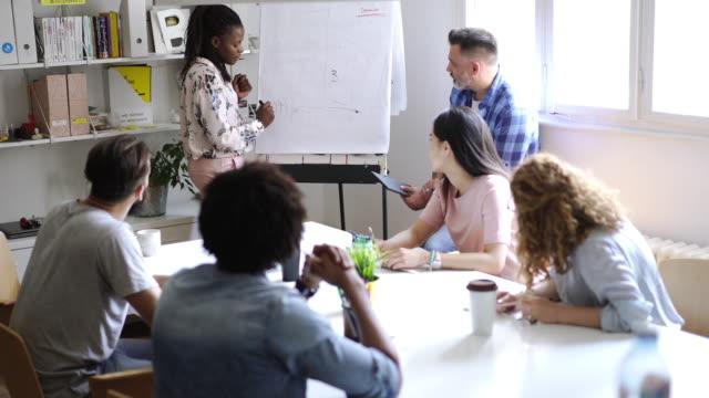 vidéos et rushes de une équipe réussie partageant des idées de remue-méninges - séminaire réunion
