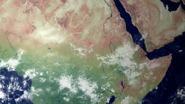 sudan pops up after earth zoom  (with alpha matte) - river nile stock videos & royalty-free footage