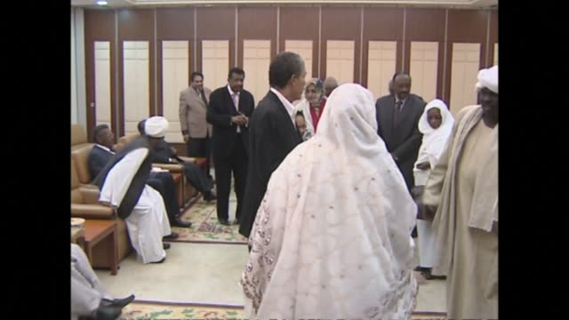 stockvideo's en b-roll-footage met sudans president omar al bashir launched his bid for re election sunday facing little threat to his quarter century in power despite an ailing... - bod