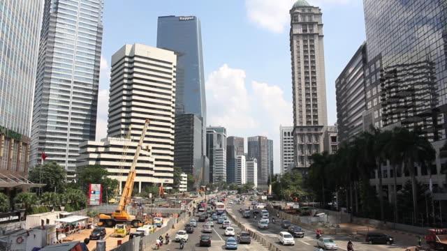 sudirman street in jakarta - jakarta stock videos & royalty-free footage