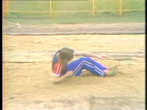 sue reeve, british long-jumper, trains for the 1980 moscow olympics, despite the possibility of a government boycott. - healthcare and medicine or illness or food and drink or fitness or exercise or wellbeing stock videos & royalty-free footage