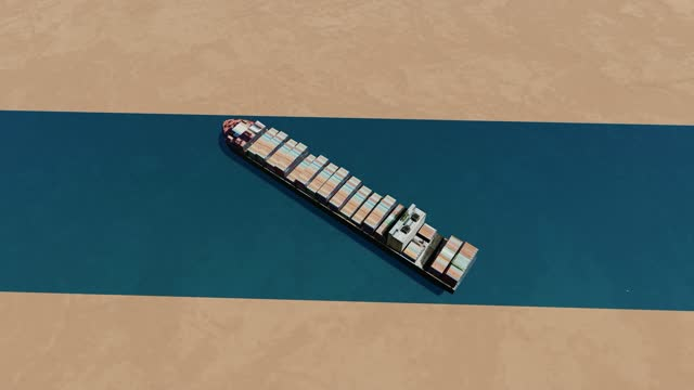 suez canal blocked after giant container ship gets stuck, 3d animation - suez canal stock videos & royalty-free footage