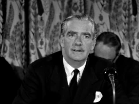 Sir Anthony Eden press conference on return from Paris ENGLAND London Airport INT Sir Anthony Eden press conference SOF We'd laid these talks on...
