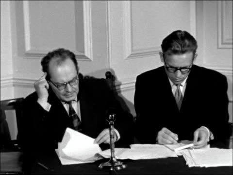 stockvideo's en b-roll-footage met statement from soviet foreign minister england london russian embassy int mr ilyichev reads out statement made by soviet foreign minister dmitri... - suezcrisis