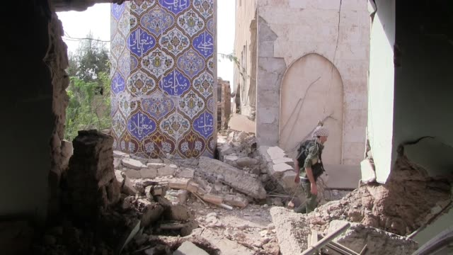 A Sufi shrine belonging to Sheikh Khaznawi destroyed by ISIS in Tel Marouf or Tall Maruf Eastern Syria