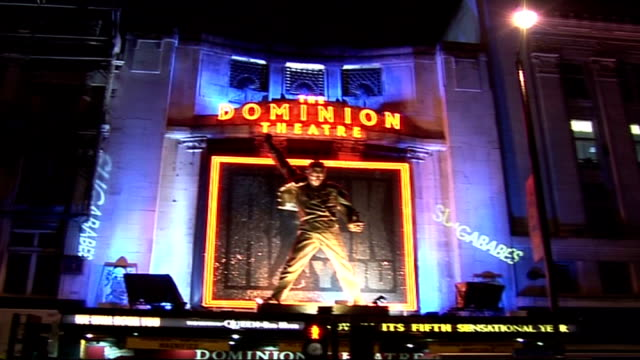 Sugababes interview and concert arrivals EXT / NIGHT General views of Dominion Theatre with Freddie Mercury statue over entrance and signs for...