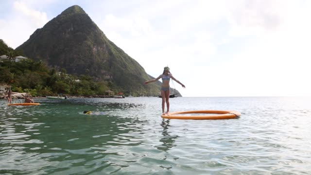 sugar beach,st. lucia - water sport stock videos & royalty-free footage