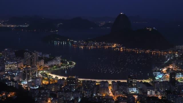 sugar hut at night - rio de janeiro stock videos & royalty-free footage