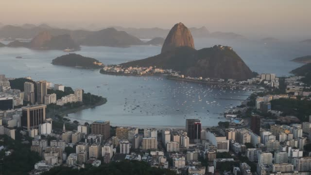 sugar hut in the evening light - rio de janeiro stock videos & royalty-free footage