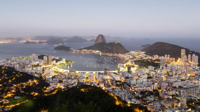 TL, WS, HA Sugar loaf mountain and Guanabara Bay day to night / Rio de Janeiro, Brazil