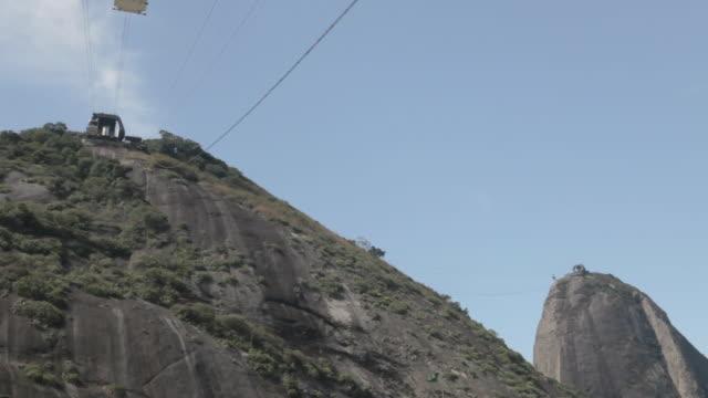 vídeos de stock, filmes e b-roll de ws sugar loaf mountain with all cable cars moving / rio de janeiro, brazil - cable
