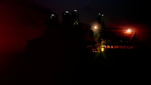 sugar mill industry at night - power station stock videos & royalty-free footage