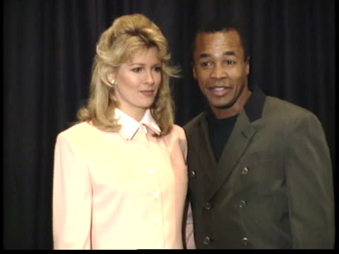 sugar ray leonard and deidre hall posing for paparazzi on stage before ceremony - deidre hall stock videos and b-roll footage