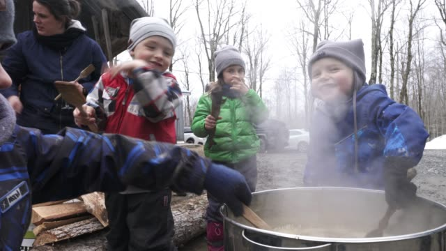 sugar shack family weekend - maple syrup stock videos & royalty-free footage