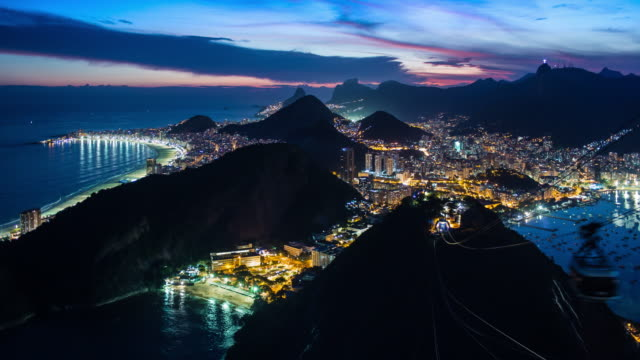 sugarloaf and cable cars, rio de janeiro, brazil, south america - copacabana stock videos & royalty-free footage