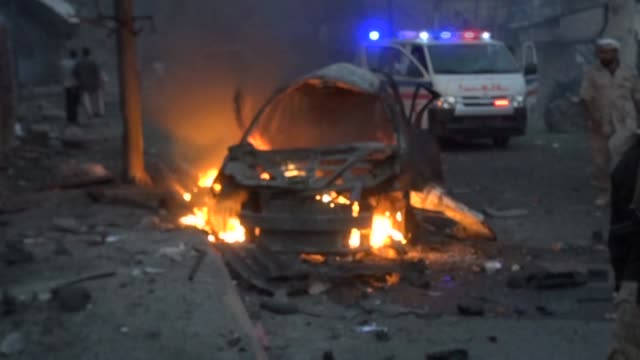 a suicide car bombing killed at least 10 people mostly civilians sunday in an attack on the residence of the police chief of yemens southern city of... - civilian stock videos and b-roll footage