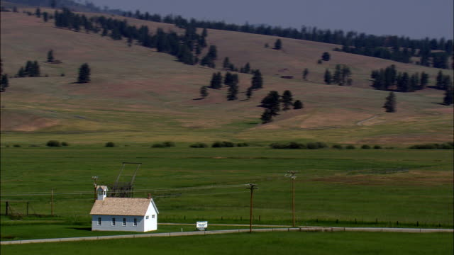 Sula School House  - Aerial View - Montana,  Ravalli County,  helicopter filming,  aerial video,  cineflex,  establishing shot,  United States
