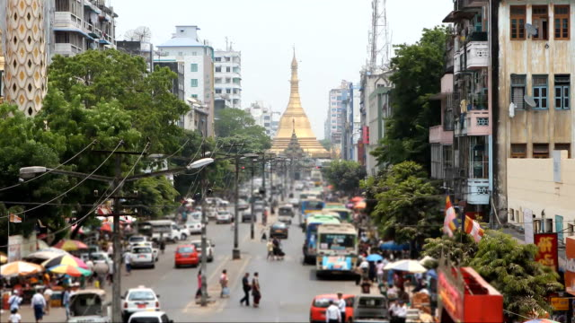sule pagoda road of traffic:time lapse - myanmar stock videos and b-roll footage