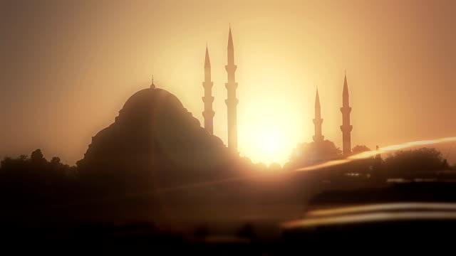HD: Mezquita de soleimán el magnífico & tráfico