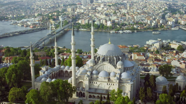 suleymaniye mosque and the golden horn - golden horn istanbul stock videos and b-roll footage