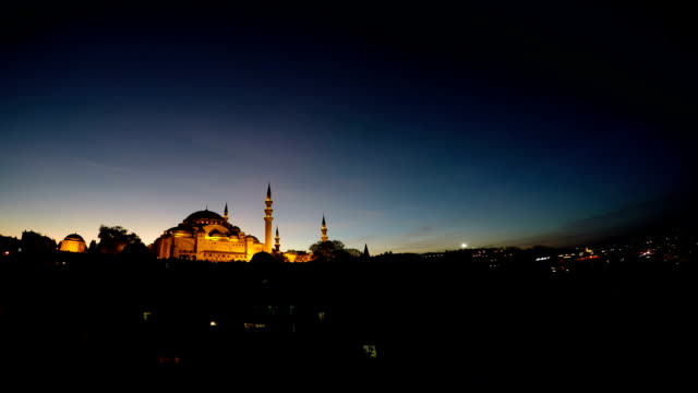 suleymaniye mosque at night - suleymaniye mosque stock videos and b-roll footage