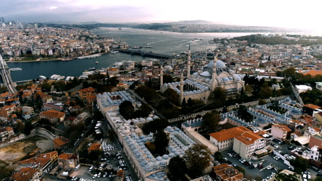 suleymaniye mosque istanbul aerial drone shot at daylight - suleyman the magnificent - turchia video stock e b–roll