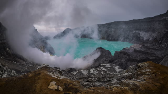 Sulfur gas from Kawah Ijen volcano crater