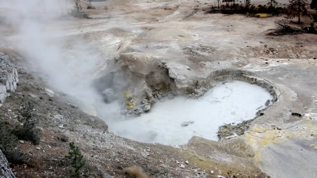 sulfur pots and fumes glacier national park - river yellowstone stock videos and b-roll footage