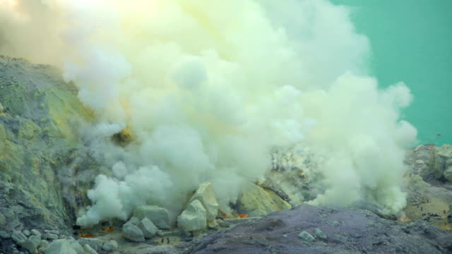 sulphur mining volcano crater with acidic lake java - 酸点の映像素材/bロール