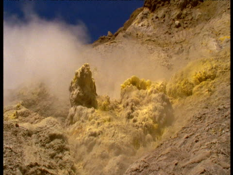 Sulphurous fumes rise from sulphur encrusted rocks, White Island, New Zealand