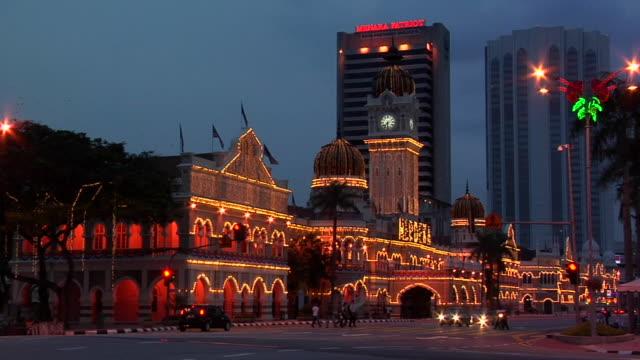 ws sultan abdul samad building lit at night / kuala lumpur, malaysia - sultan abdul samad building stock videos & royalty-free footage