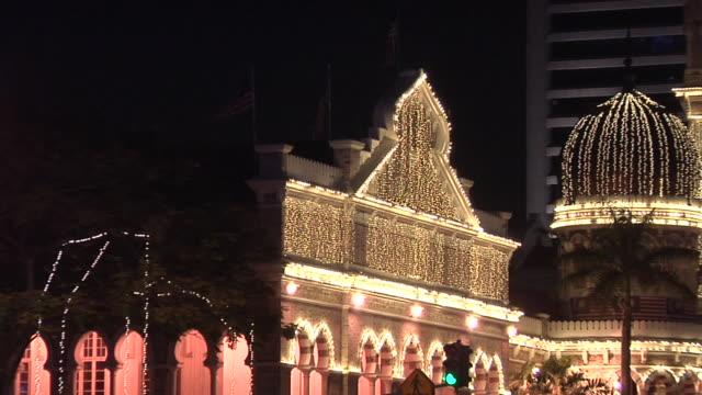 ws zo sultan abdul samad building lit at night / kuala lumpur, malaysia - sultan abdul samad gebäude stock-videos und b-roll-filmmaterial
