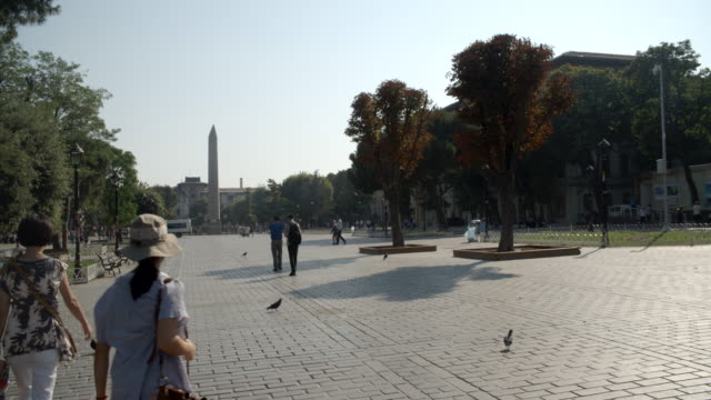 sultan ahmed park & the obelisk of theodosius / istanbul - obelisk stock videos & royalty-free footage