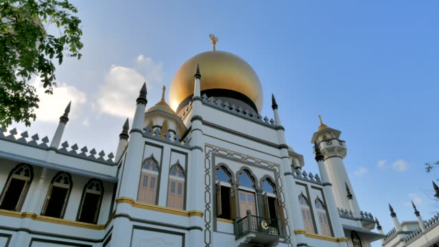 sultan mosque at arab street singapore - sultan mosque singapore stock videos and b-roll footage