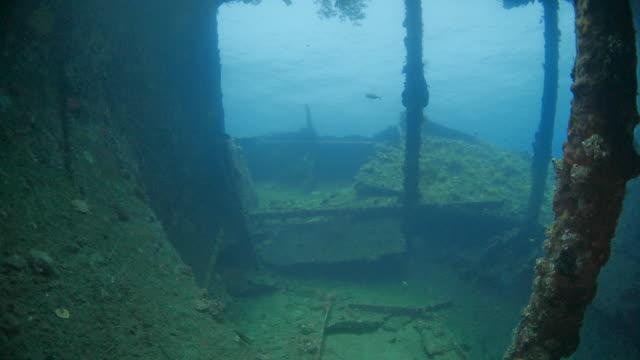 sum beam through skeleton of usat shipwreck undersea, indonesia (4k) - shipwreck stock videos & royalty-free footage