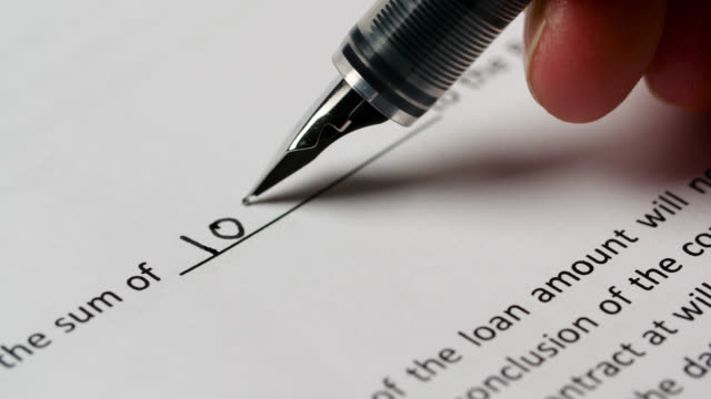 cu sum of ten thousand written on contract - pen stock videos & royalty-free footage