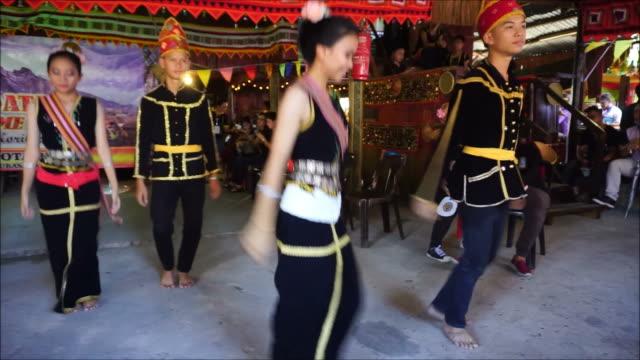 sumazau dance borneo - harvest festival stock videos & royalty-free footage