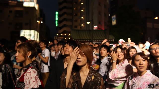 sumida river fireworks festival 2013 visitors - 2013 video stock e b–roll
