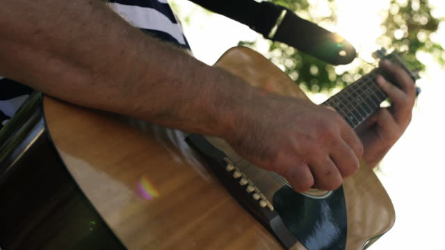 summer acosutic guitar - fretboard stock videos and b-roll footage