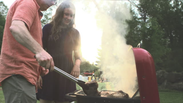 summer bbq large family celebration nature - barbecue social gathering stock videos & royalty-free footage