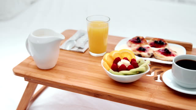 Summer breakfast served on small table