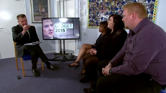 itv summer budget special 2015 west midlands birmingham int chris choi discussion with panel members sebastian pickett raven nelson and chanel walsh/... - hampshire stock-videos und b-roll-filmmaterial