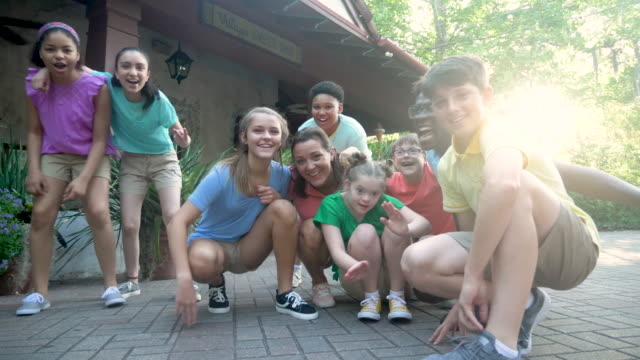 summer camp including two down syndrome children - summer camp helper stock videos & royalty-free footage