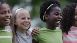 Summer camp kids outside together