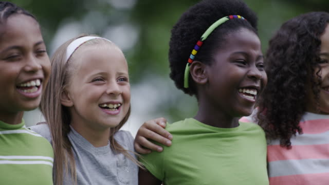 summer camp kids outside together - elementary age stock videos & royalty-free footage
