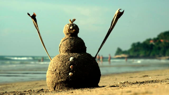 summer christmas snowman sandman sand castle on beach - southern hemisphere stock videos & royalty-free footage